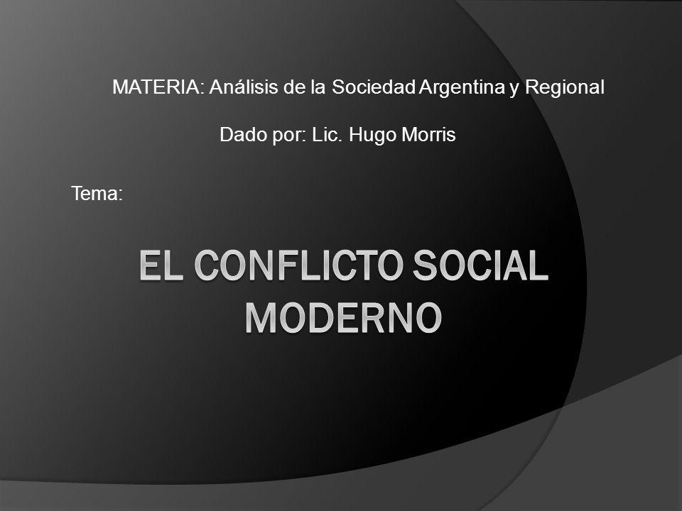 MATERIA: Análisis de la Sociedad Argentina y Regional Dado por: Lic. Hugo Morris Tema: