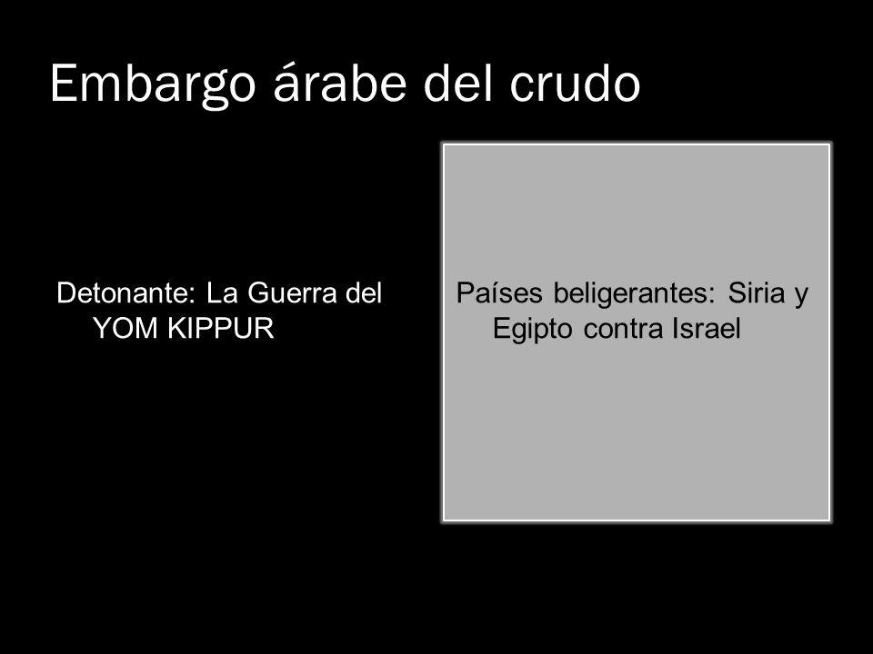Embargo árabe del crudo Detonante: La Guerra del YOM KIPPUR Países beligerantes: Siria y Egipto contra Israel