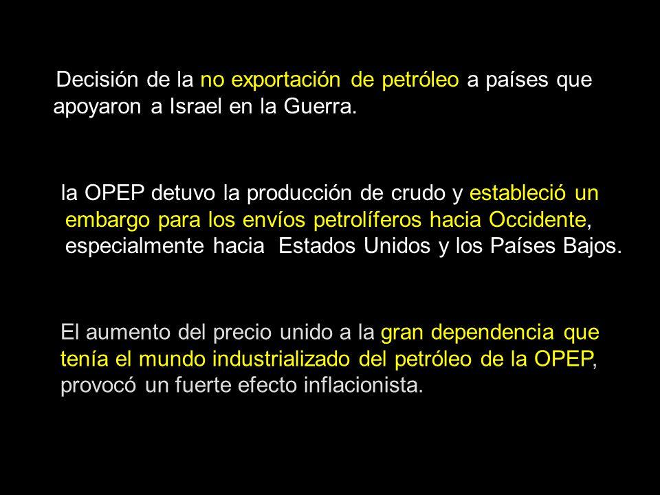 El aumento del precio unido a la gran dependencia que tenía el mundo industrializado del petróleo de la OPEP, provocó un fuerte efecto inflacionista.