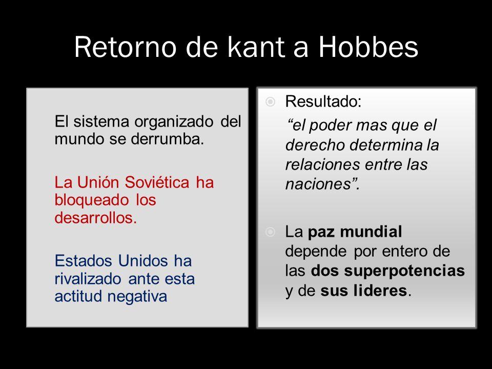 Retorno de kant a Hobbes El sistema organizado del mundo se derrumba. La Unión Soviética ha bloqueado los desarrollos. Estados Unidos ha rivalizado an
