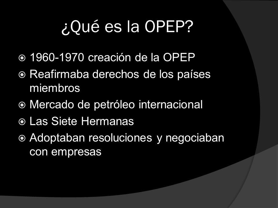 ¿Qué es la OPEP? 1960-1970 creación de la OPEP Reafirmaba derechos de los países miembros Mercado de petróleo internacional Las Siete Hermanas Adoptab