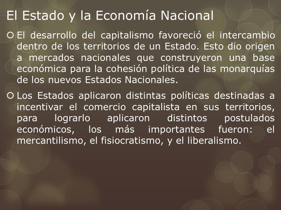 El Estado y la Economía Nacional El desarrollo del capitalismo favoreció el intercambio dentro de los territorios de un Estado. Esto dio origen a merc