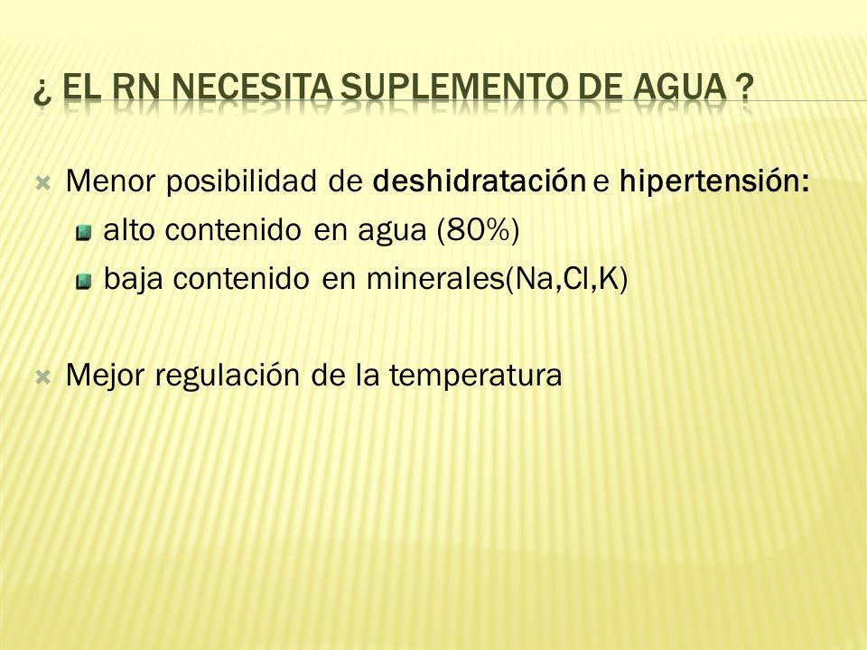 Menor posibilidad de deshidratación e hipertensión: alto contenido en agua (80%) baja contenido en minerales(Na,Cl,K) Mejor regulación de la temperatura