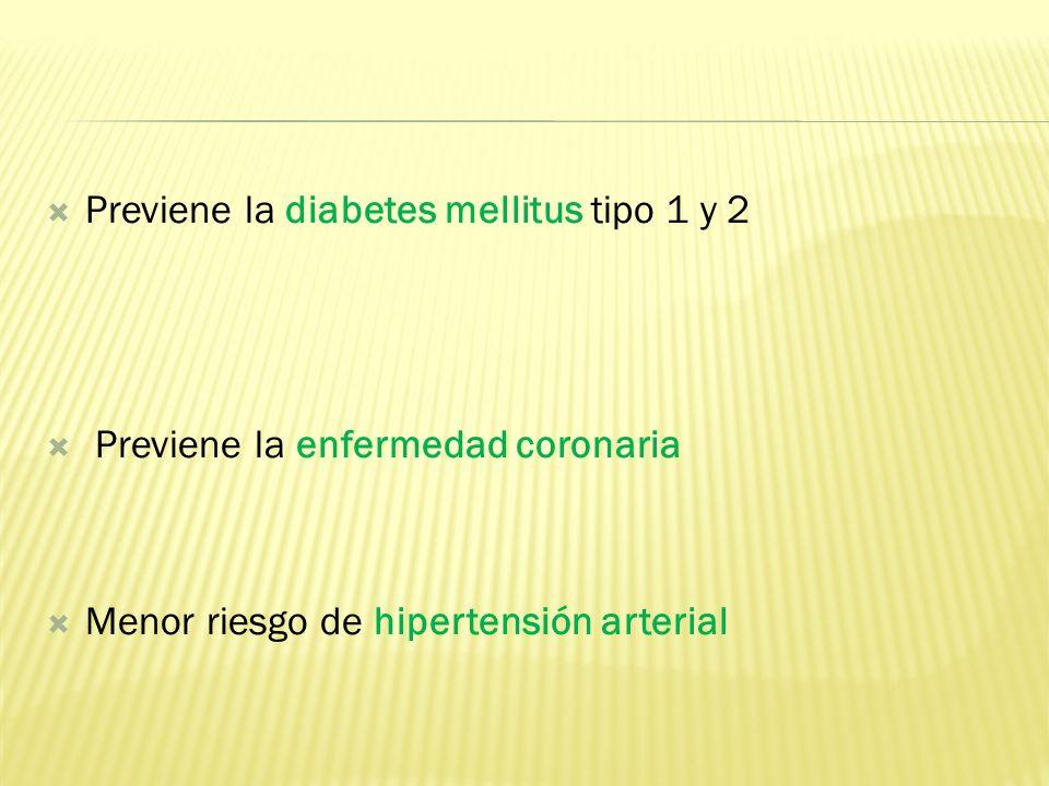 Previene la diabetes mellitus tipo 1 y 2 Previene la enfermedad coronaria Menor riesgo de hipertensión arterial