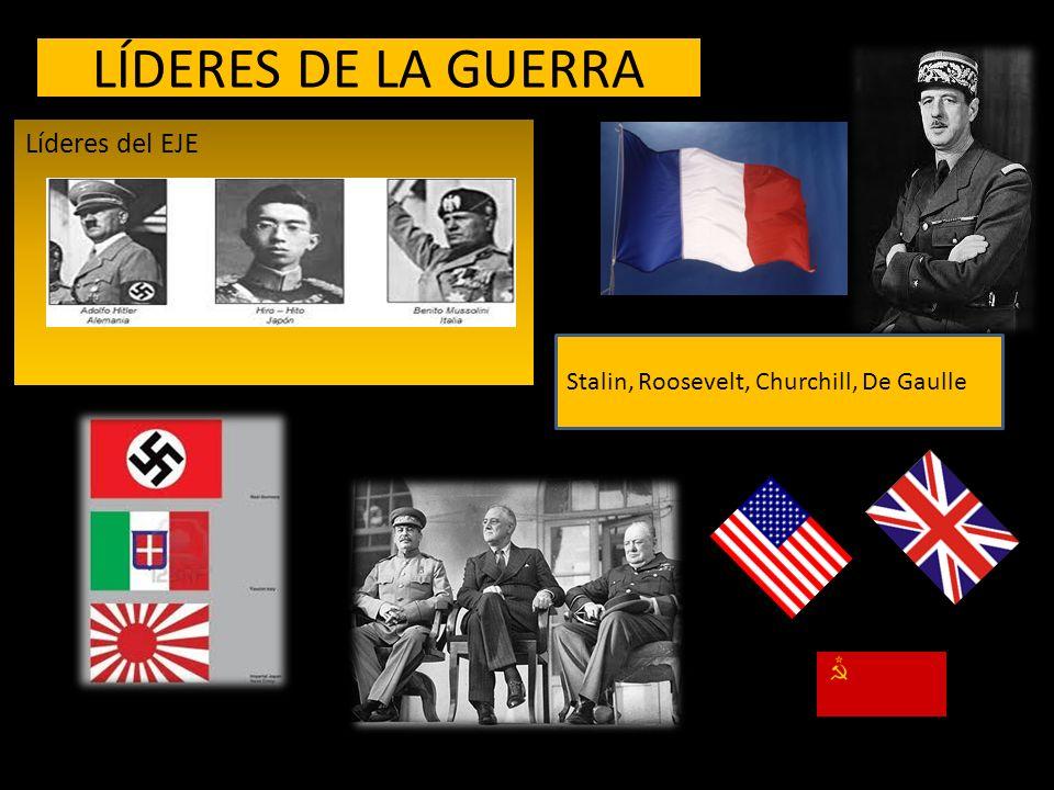 LÍDERES DE LA GUERRA Líderes del EJE Stalin, Roosevelt, Churchill, De Gaulle