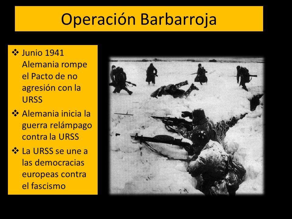 Operación Barbarroja Junio 1941 Alemania rompe el Pacto de no agresión con la URSS Alemania inicia la guerra relámpago contra la URSS La URSS se une a las democracias europeas contra el fascismo