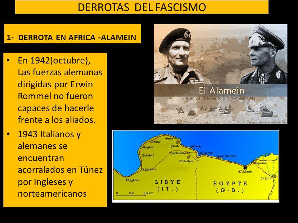 DERROTAS DEL FASCISMO 1- DERROTA EN AFRICA -ALAMEIN En 1942(octubre), Las fuerzas alemanas dirigidas por Erwin Rommel no fueron capaces de hacerle frente a los aliados.