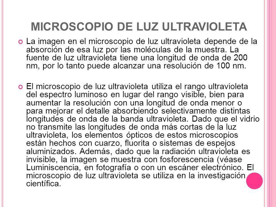 MICROSCOPIO DE LUZ ULTRAVIOLETA La imagen en el microscopio de luz ultravioleta depende de la absorción de esa luz por las moléculas de la muestra. La