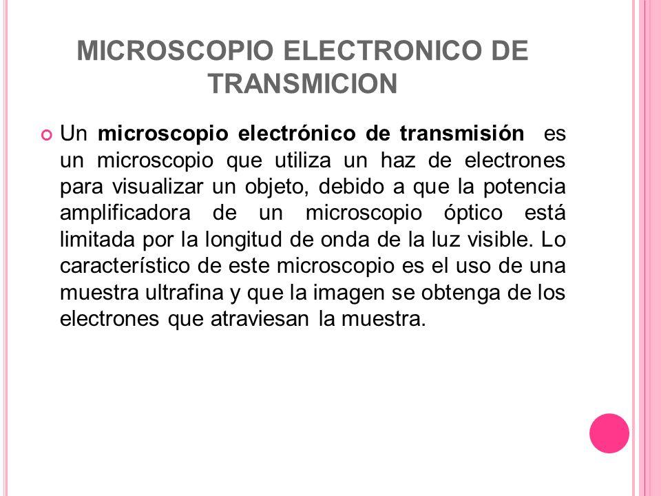 MICROSCOPIO ELECTRONICO DE TRANSMICION Un microscopio electrónico de transmisión es un microscopio que utiliza un haz de electrones para visualizar un