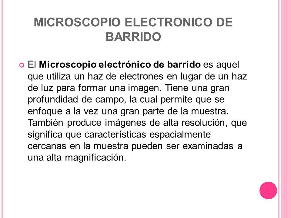 MICROSCOPIO ELECTRONICO DE BARRIDO El Microscopio electrónico de barrido es aquel que utiliza un haz de electrones en lugar de un haz de luz para form