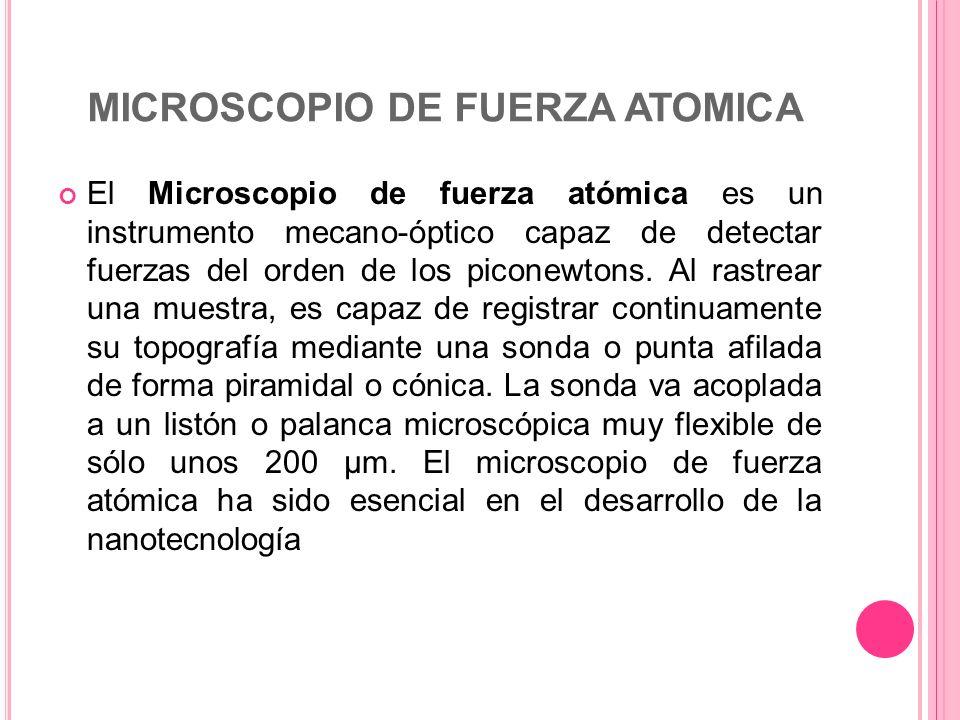 MICROSCOPIO DE FUERZA ATOMICA El Microscopio de fuerza atómica es un instrumento mecano-óptico capaz de detectar fuerzas del orden de los piconewtons.