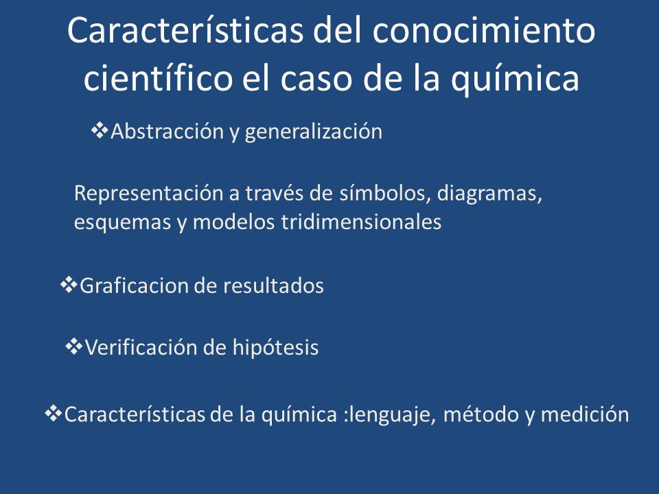 Características del conocimiento científico el caso de la química Abstracción y generalización Representación a través de símbolos, diagramas, esquema