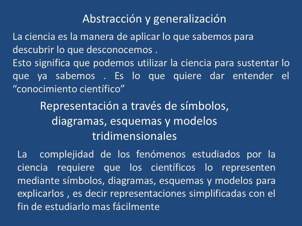 Abstracción y generalización La ciencia es la manera de aplicar lo que sabemos para descubrir lo que desconocemos. Esto significa que podemos utilizar