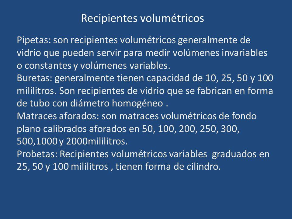 Recipientes volumétricos Pipetas: son recipientes volumétricos generalmente de vidrio que pueden servir para medir volúmenes invariables o constantes