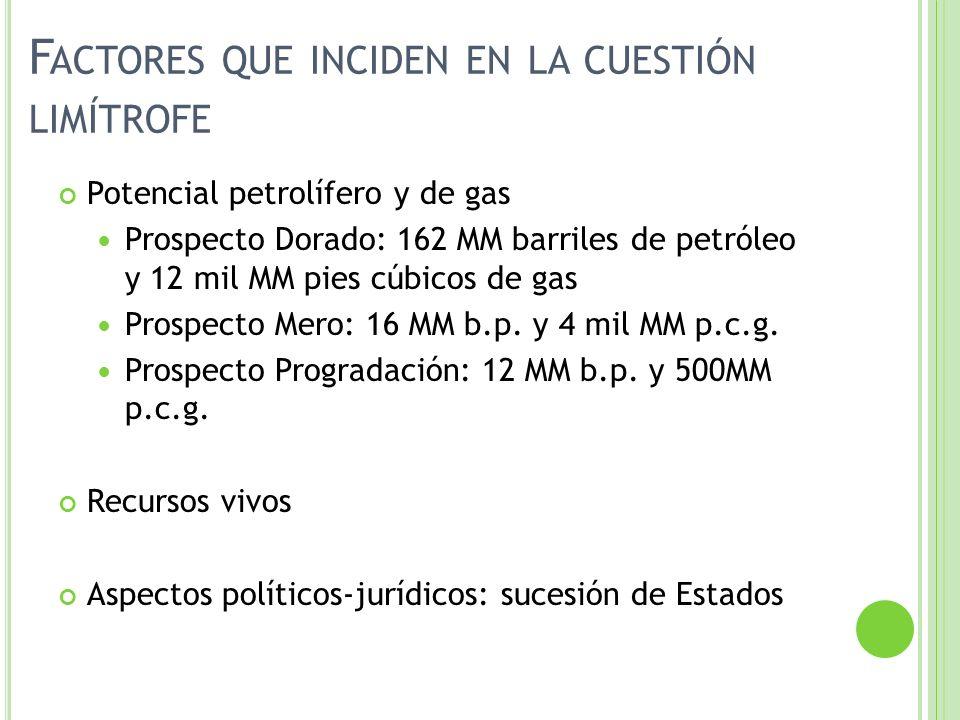 F ACTORES QUE INCIDEN EN LA CUESTIÓN LIMÍTROFE Potencial petrolífero y de gas Prospecto Dorado: 162 MM barriles de petróleo y 12 mil MM pies cúbicos d