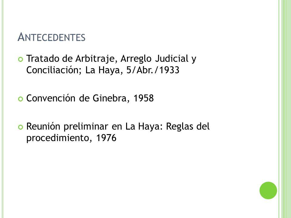 A NTECEDENTES Tratado de Arbitraje, Arreglo Judicial y Conciliación; La Haya, 5/Abr./1933 Convención de Ginebra, 1958 Reunión preliminar en La Haya: R