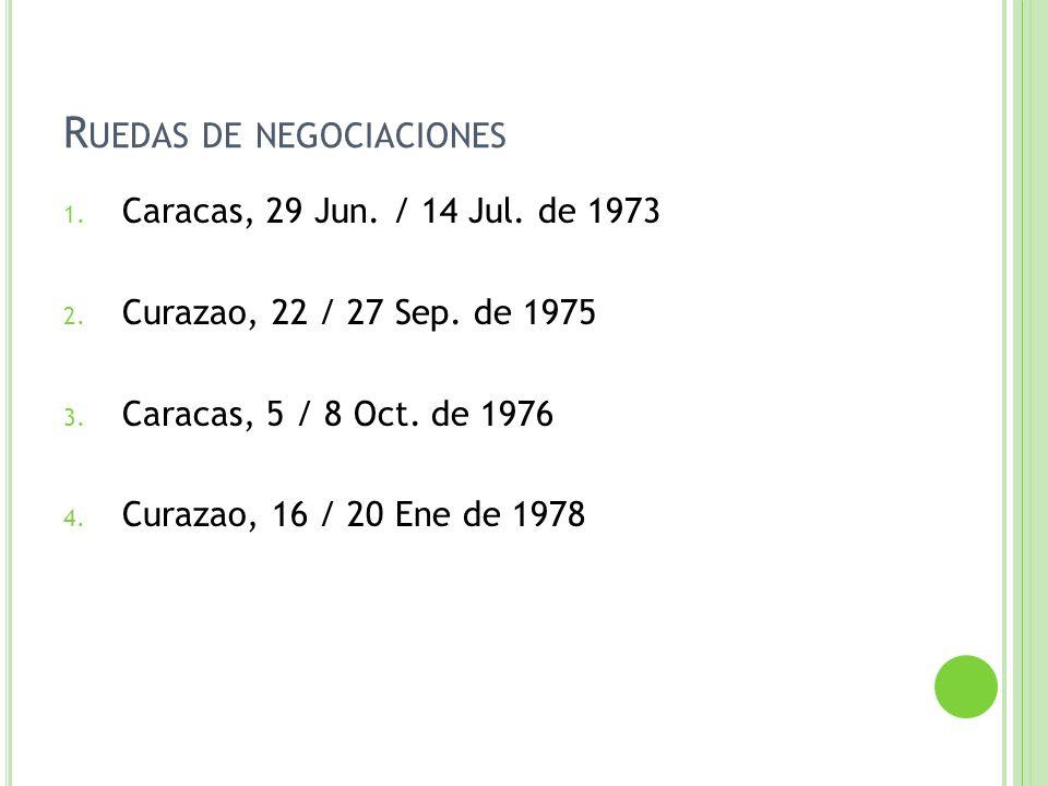 R UEDAS DE NEGOCIACIONES 1. Caracas, 29 Jun. / 14 Jul. de 1973 2. Curazao, 22 / 27 Sep. de 1975 3. Caracas, 5 / 8 Oct. de 1976 4. Curazao, 16 / 20 Ene