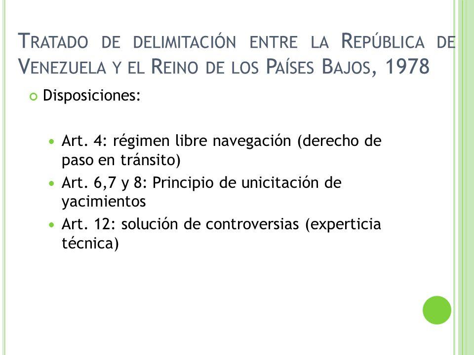 Disposiciones: Art. 4: régimen libre navegación (derecho de paso en tránsito) Art. 6,7 y 8: Principio de unicitación de yacimientos Art. 12: solución
