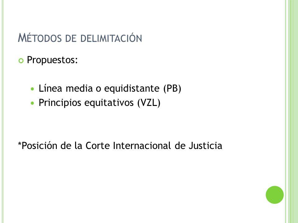 M ÉTODOS DE DELIMITACIÓN Propuestos: Línea media o equidistante (PB) Principios equitativos (VZL) *Posición de la Corte Internacional de Justicia