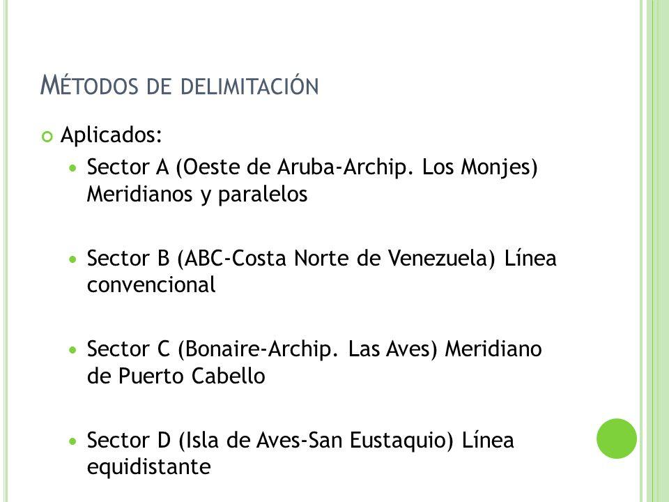 M ÉTODOS DE DELIMITACIÓN Aplicados: Sector A (Oeste de Aruba-Archip. Los Monjes) Meridianos y paralelos Sector B (ABC-Costa Norte de Venezuela) Línea