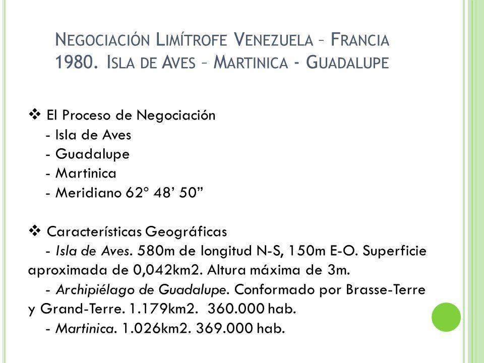 N EGOCIACIÓN L IMÍTROFE V ENEZUELA – F RANCIA 1980. I SLA DE A VES – M ARTINICA - G UADALUPE El Proceso de Negociación - Isla de Aves - Guadalupe - Ma