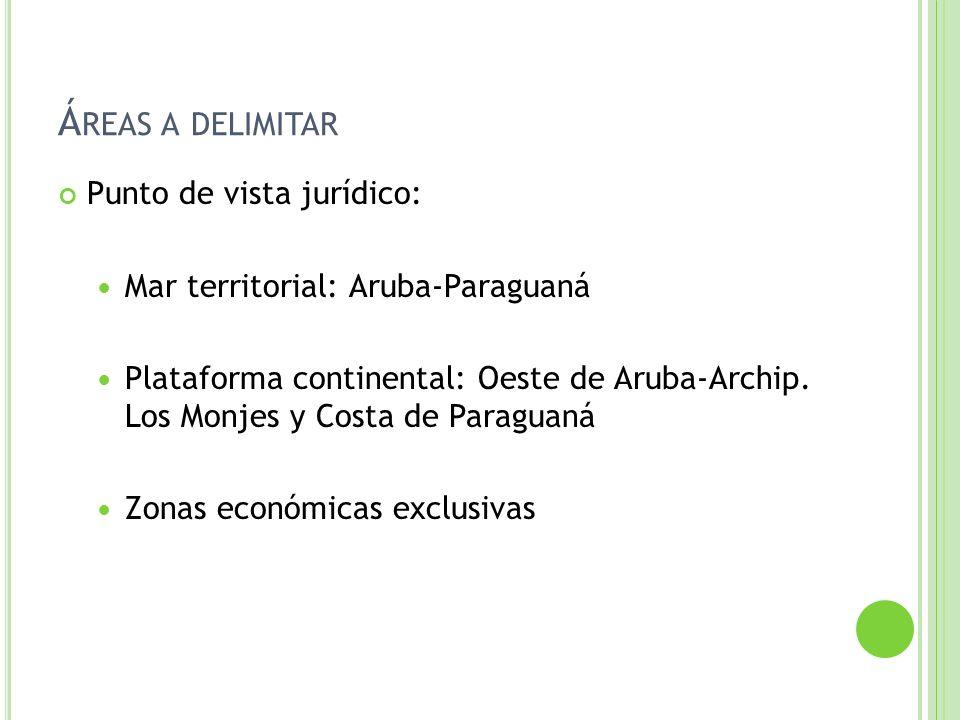 Á REAS A DELIMITAR Punto de vista jurídico: Mar territorial: Aruba-Paraguaná Plataforma continental: Oeste de Aruba-Archip. Los Monjes y Costa de Para