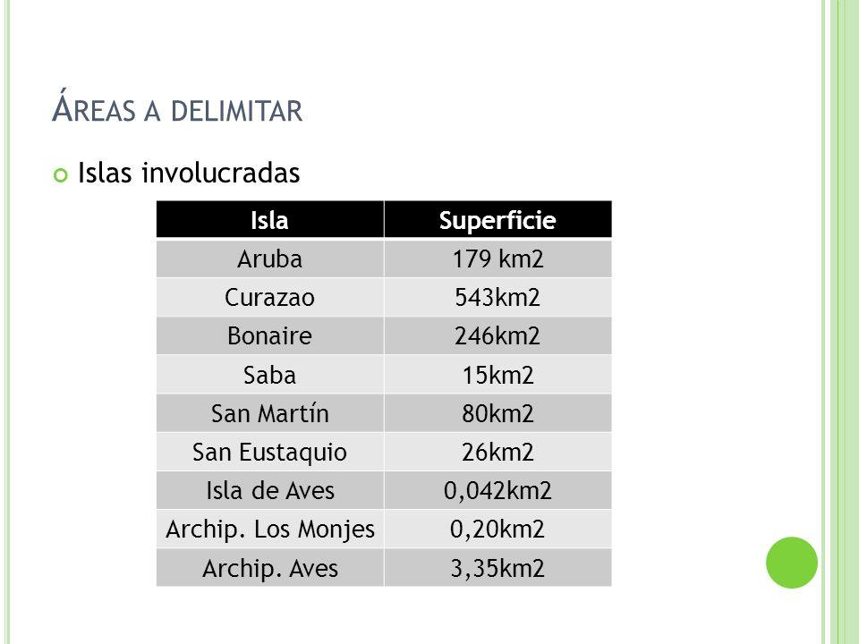 Islas involucradas IslaSuperficie Aruba179 km2 Curazao543km2 Bonaire246km2 Saba15km2 San Martín80km2 San Eustaquio26km2 Isla de Aves0,042km2 Archip. L