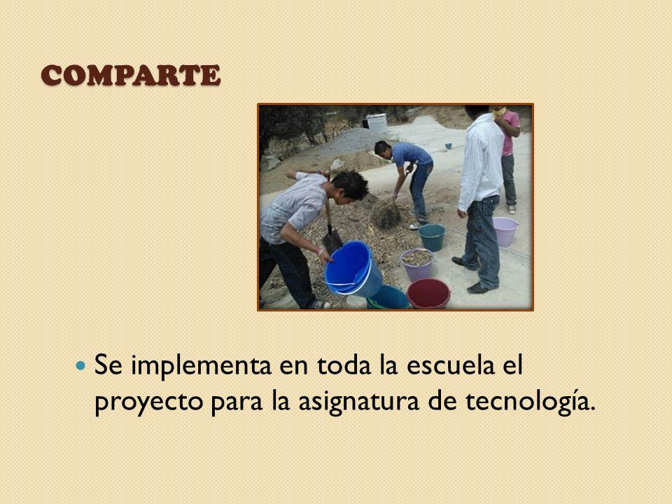 COMPARTE Se implementa en toda la escuela el proyecto para la asignatura de tecnología.
