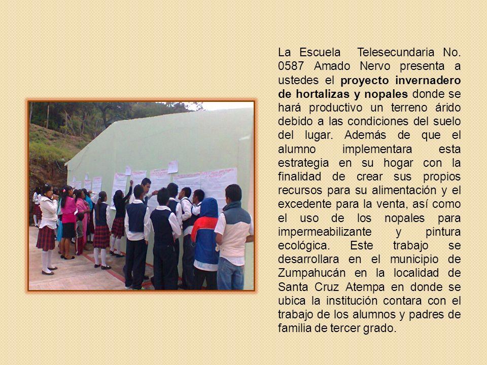 La Escuela Telesecundaria No. 0587 Amado Nervo presenta a ustedes el proyecto invernadero de hortalizas y nopales donde se hará productivo un terreno