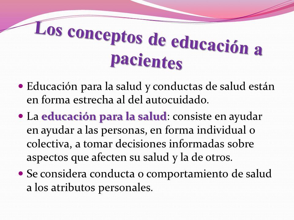 Los conceptos de educación a pacientes Educación para la salud y conductas de salud están en forma estrecha al del autocuidado. educación para la salu