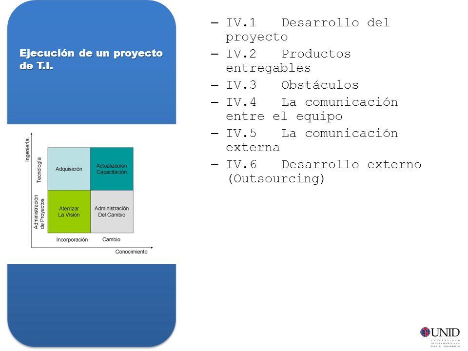 –IV.1Desarrollo del proyecto –IV.2Productos entregables –IV.3Obstáculos –IV.4La comunicación entre el equipo –IV.5La comunicación externa –IV.6Desarrollo externo (Outsourcing) Ejecución de un proyecto de T.I.