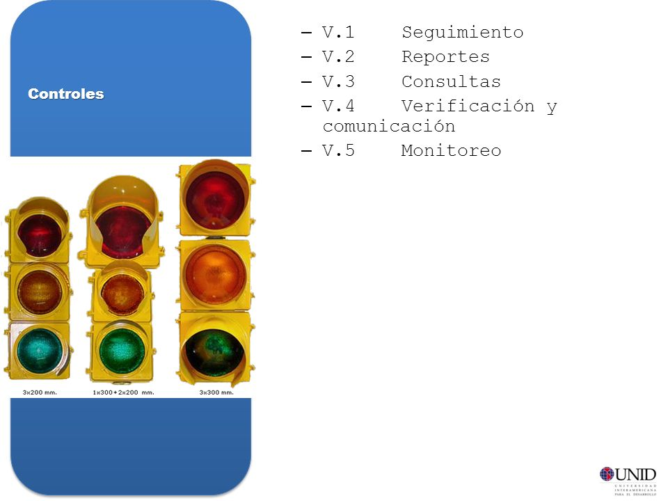 –V.1Seguimiento –V.2Reportes –V.3Consultas –V.4Verificación y comunicación –V.5Monitoreo Controles