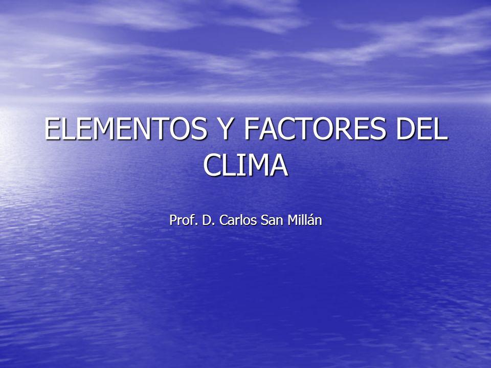 ELEMENTOS Y FACTORES DEL CLIMA Prof. D. Carlos San Millán