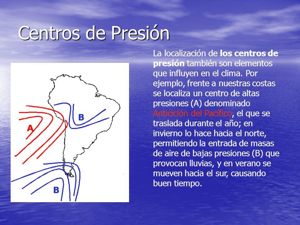 Centros de Presión La localización de los centros de presión también son elementos que influyen en el clima. Por ejemplo, frente a nuestras costas se