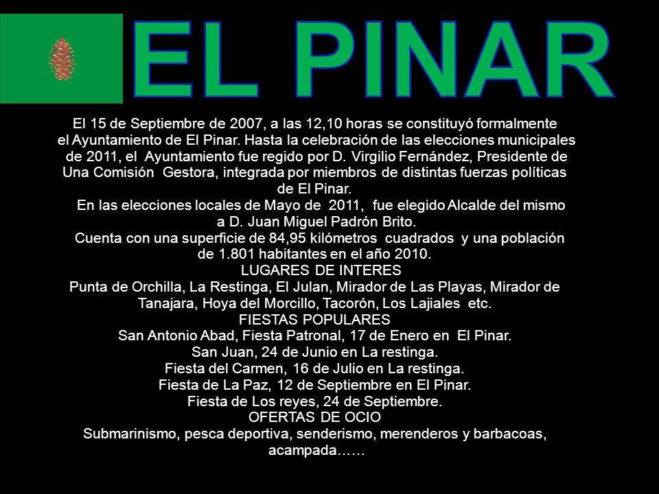 El 15 de Septiembre de 2007, a las 12,10 horas se constituyó formalmente el Ayuntamiento de El Pinar.