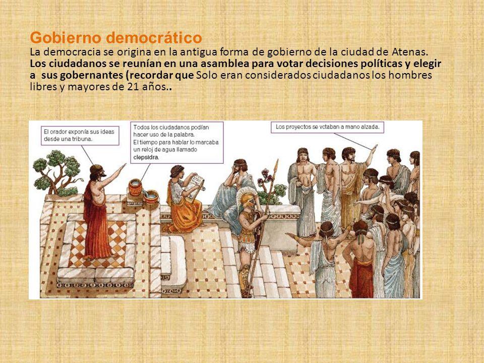 Gobierno democrático La democracia se origina en la antigua forma de gobierno de la ciudad de Atenas. Los ciudadanos se reunían en una asamblea para v