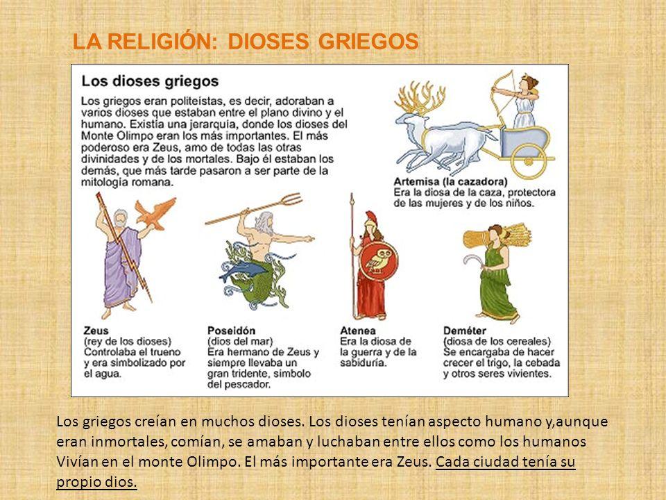 LA RELIGIÓN: DIOSES GRIEGOS Los griegos creían en muchos dioses. Los dioses tenían aspecto humano y,aunque eran inmortales, comían, se amaban y luchab
