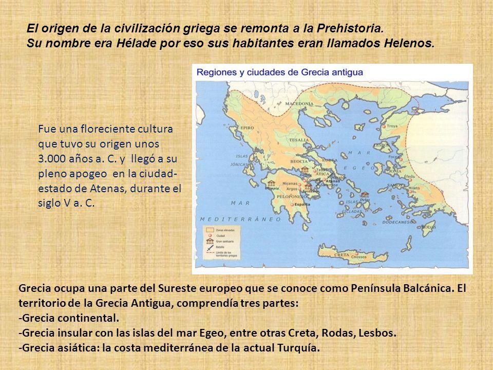 Grecia ocupa una parte del Sureste europeo que se conoce como Península Balcánica. El territorio de la Grecia Antigua, comprendía tres partes: -Grecia