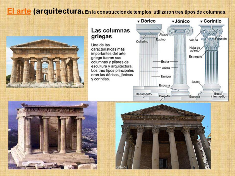 El arte (arquitectura ). En la construcción de templos utilizaron tres tipos de columnas.