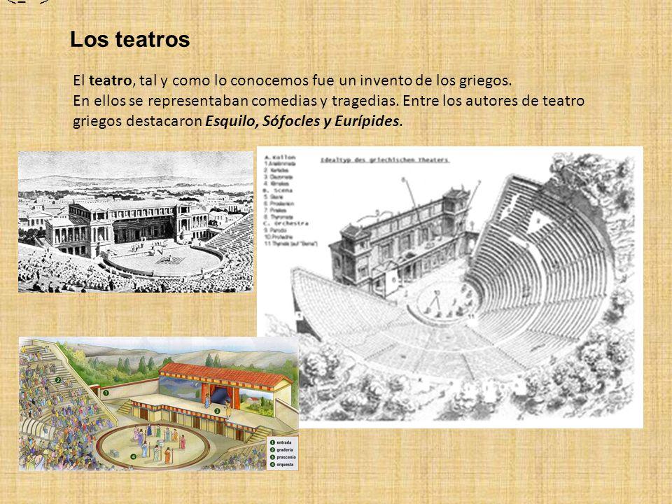 Los teatros El teatro, tal y como lo conocemos fue un invento de los griegos. En ellos se representaban comedias y tragedias. Entre los autores de tea