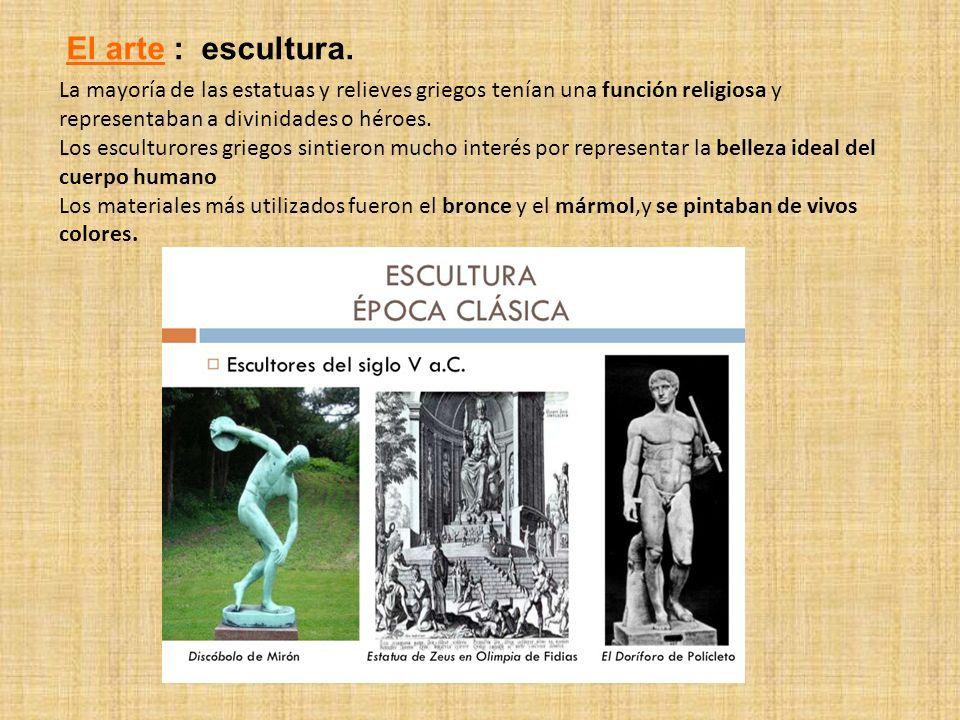 La mayoría de las estatuas y relieves griegos tenían una función religiosa y representaban a divinidades o héroes. Los esculturores griegos sintieron