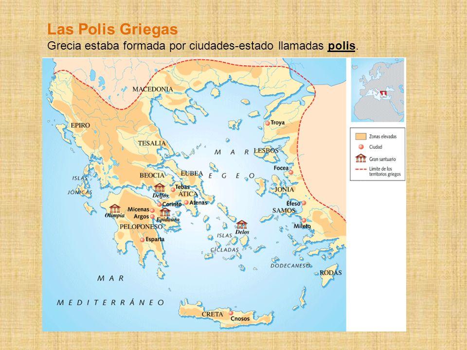 En las polis griegas se diferenciaban: - Acrópolis : espacio religioso en la parte alta de la ciudad y que de uso defensivo para la población en caso de guerra.
