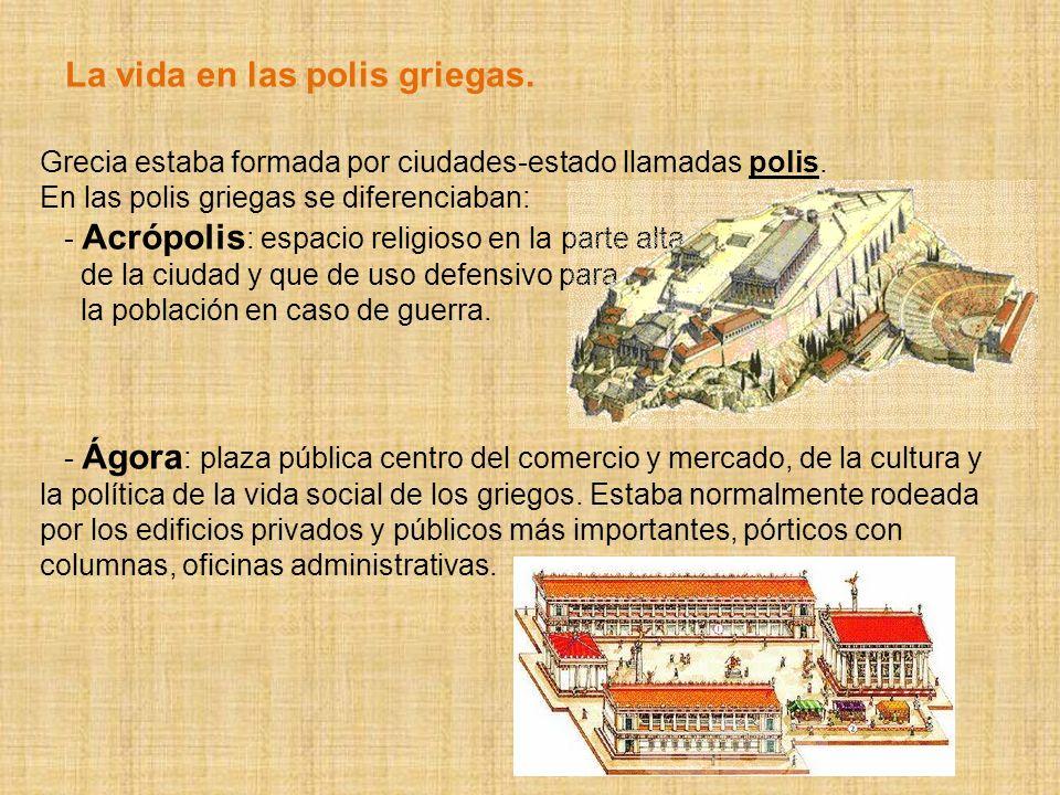 En las polis griegas se diferenciaban: - Acrópolis : espacio religioso en la parte alta de la ciudad y que de uso defensivo para la población en caso