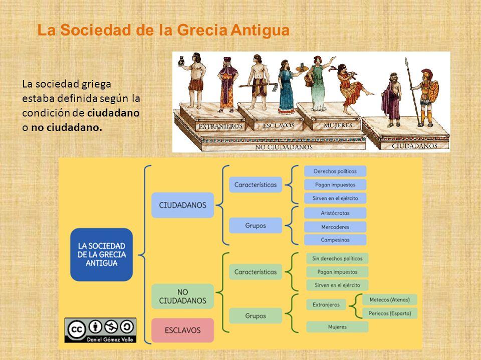 La sociedad griega estaba definida según la condición de ciudadano o no ciudadano. La Sociedad de la Grecia Antigua