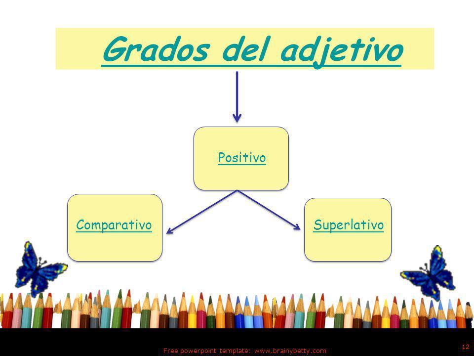 Continuación Grados del adjetivo Los adjetivos expresan cualidades de los nombres con mayor o menor intensidad.