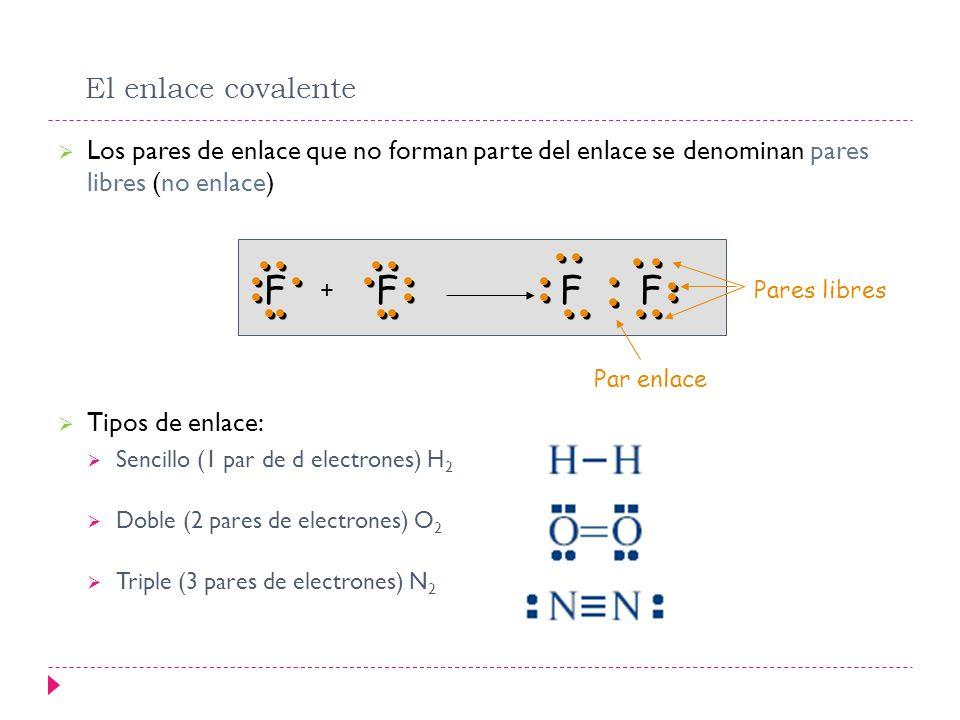 El enlace covalente Los pares de enlace que no forman parte del enlace se denominan pares libres (no enlace) Tipos de enlace: Sencillo (1 par de d ele