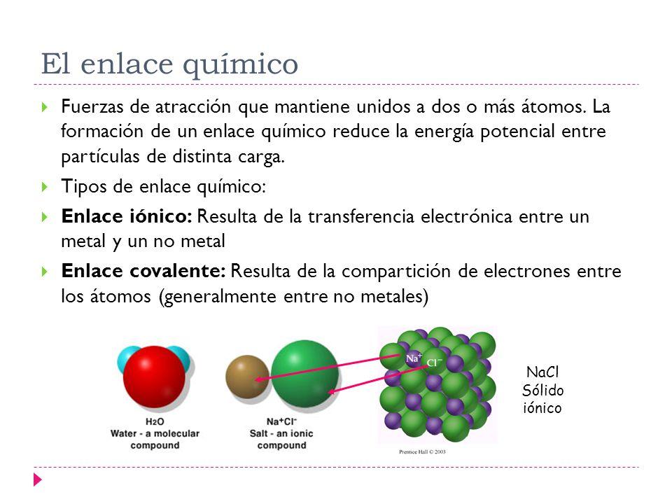 El enlace químico Fuerzas de atracción que mantiene unidos a dos o más átomos. La formación de un enlace químico reduce la energía potencial entre par