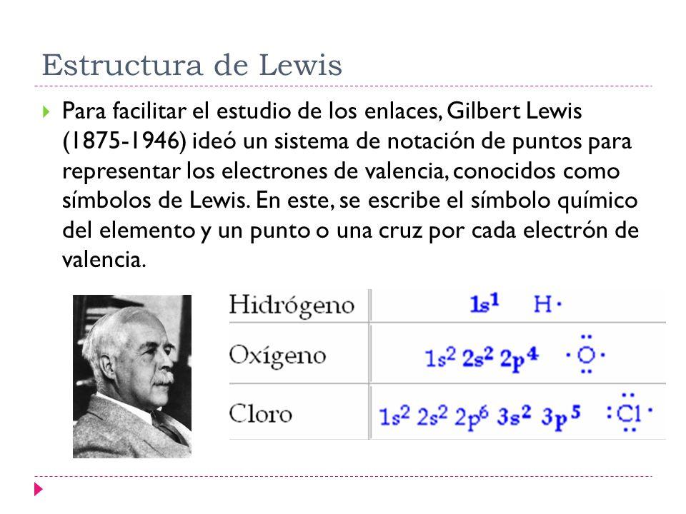 Estructura de Lewis Para facilitar el estudio de los enlaces, Gilbert Lewis (1875-1946) ideó un sistema de notación de puntos para representar los ele