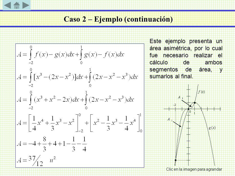 Caso 2 – Ejemplo (continuación) Este ejemplo presenta un área asimétrica, por lo cual fue necesario realizar el cálculo de ambos segmentos de área, y