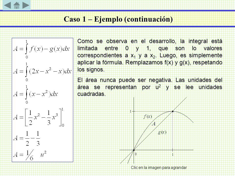 Caso 1 – Ejemplo (continuación) Como se observa en el desarrollo, la integral está limitada entre 0 y 1, que son lo valores correspondientes a x 1 y a
